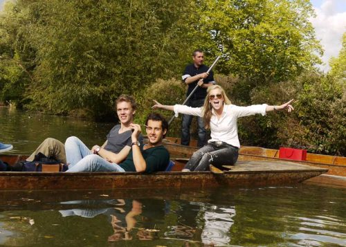 St Clares Oxford students punting in summer