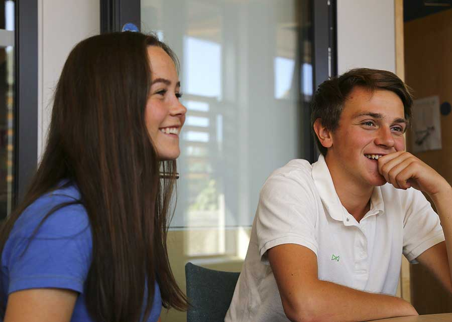 two teenage students in summer classroom lesson