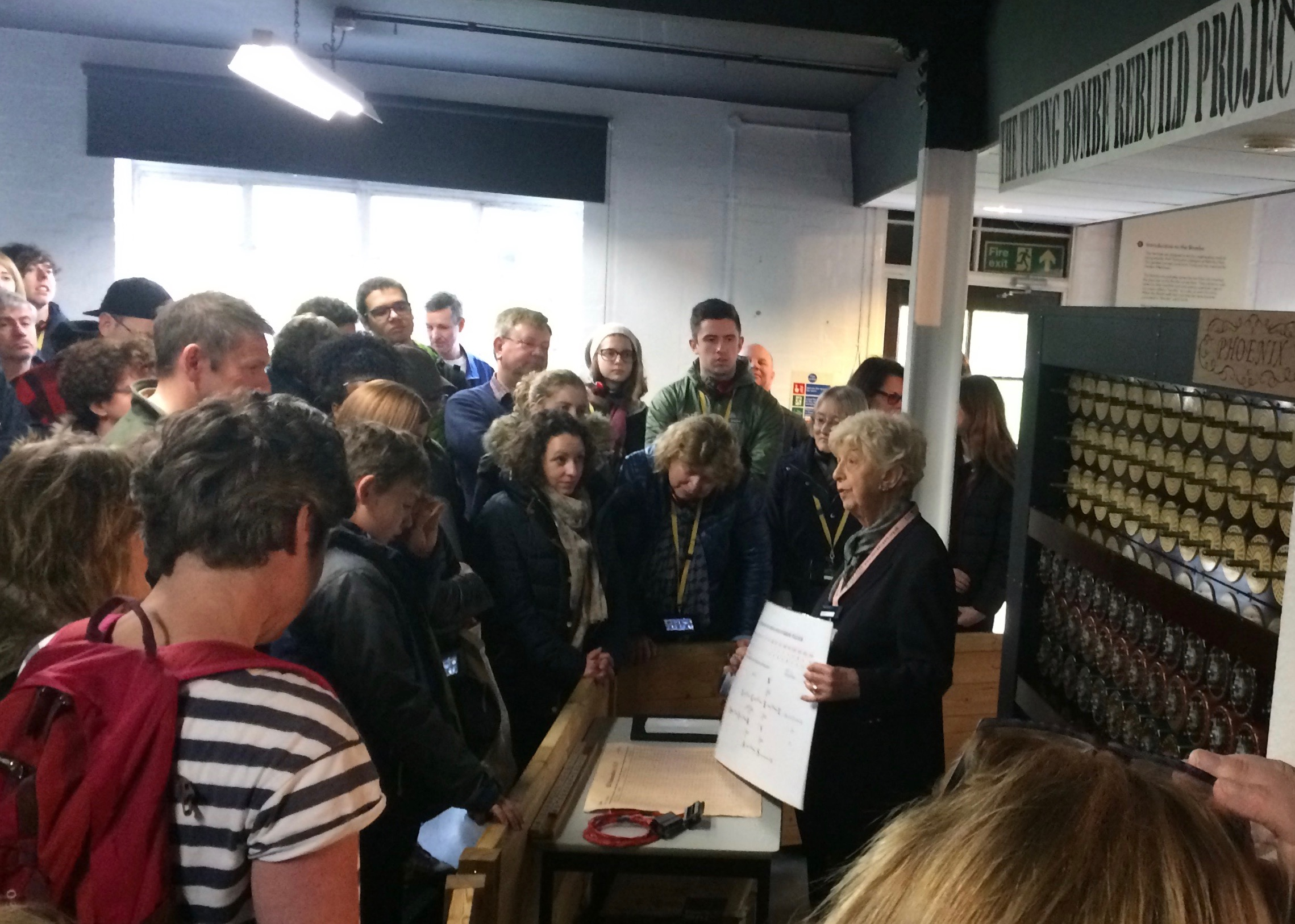 Women with students in Bletchley Park